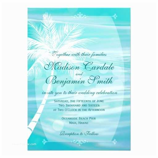 Palm Tree Wedding Invitations Palm Tree Beach Destination Wedding Invitations