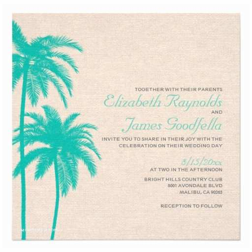 "Palm Tree Wedding Invitations Palm Tree Burlap Wedding Invitations 5 25"" Square"