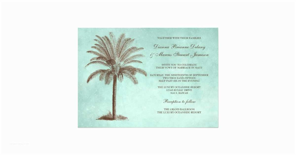 Palm Tree Wedding Invitations Palm Tree Tropical Wedding Invitation Template