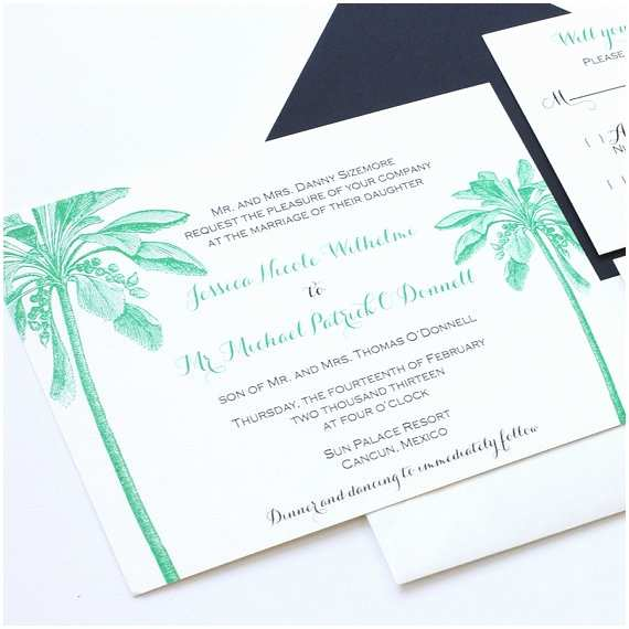 Palm Tree Wedding Invitations Palm Tree Wedding Invitation Beach Wedding by Blushpaperie