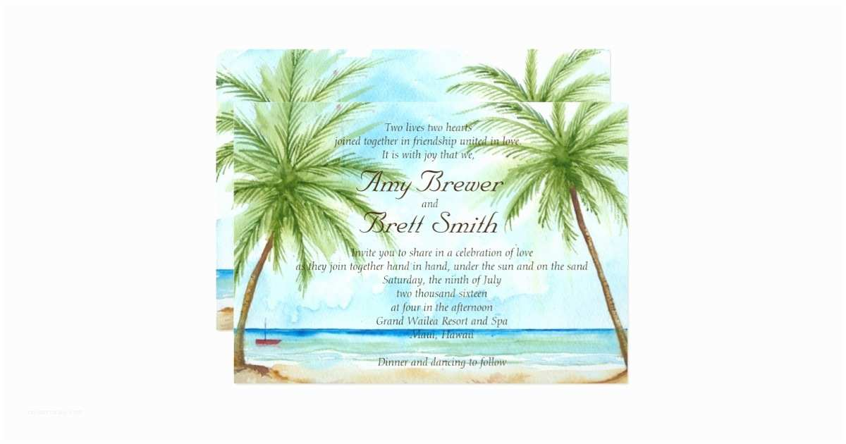 Palm Tree Wedding Invitations Palm Tree Wedding Invitation