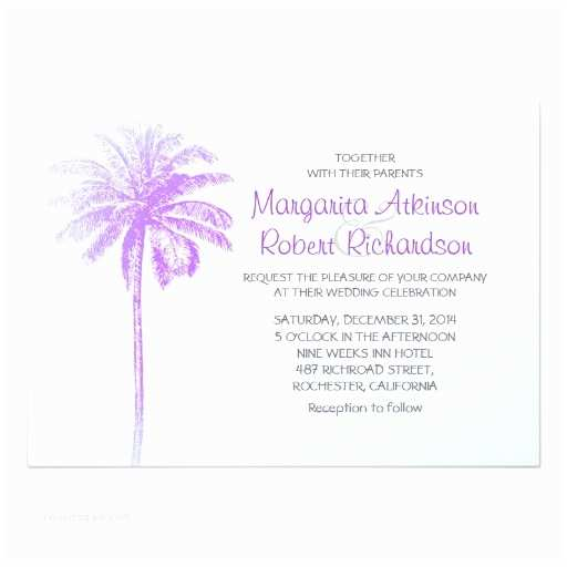 Palm Tree Wedding Invitations Purple Palm Tree White Beach Wedding Invitations