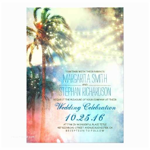 Palm Tree Wedding Invitations String Lights Palm Trees Beach Wedding Invite