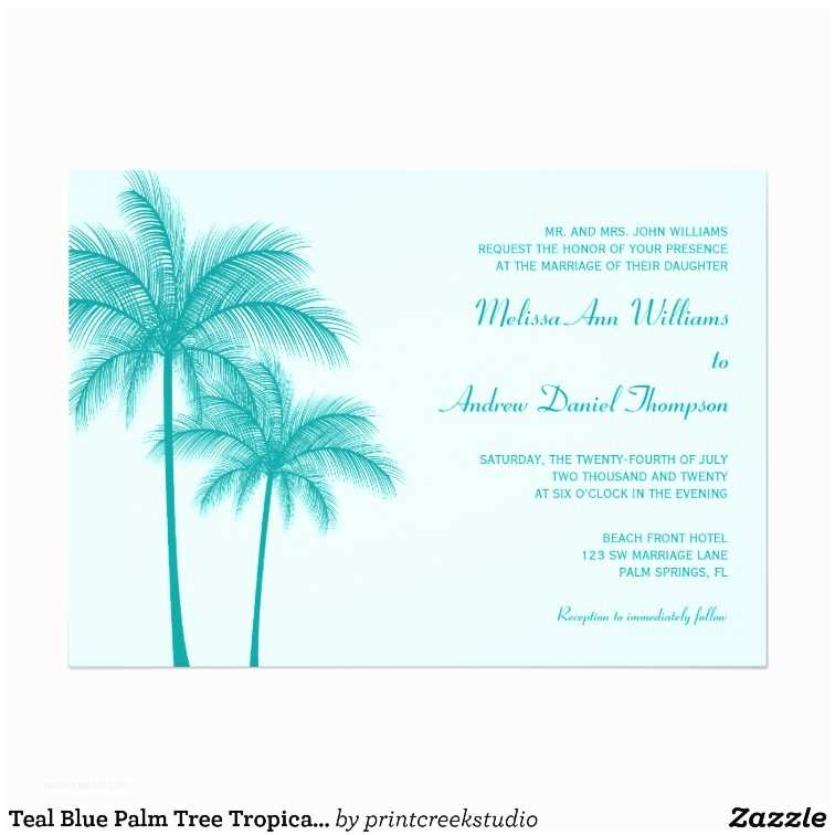 Palm Tree Wedding Invitations Teal Blue Palm Tree Tropical Wedding Card