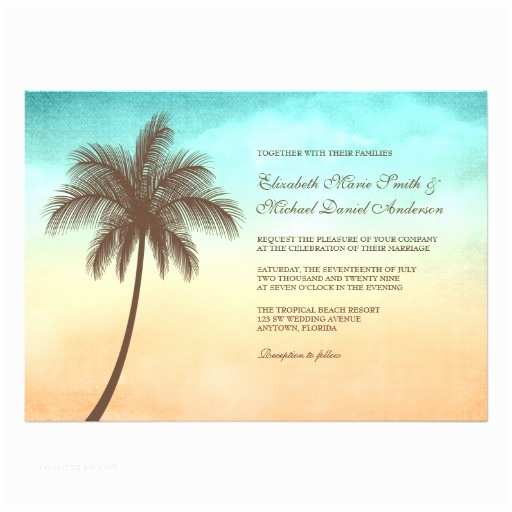 "Palm Tree Wedding Invitations Tropical Beach Palm Tree Wedding Invitations 5"" X 7"