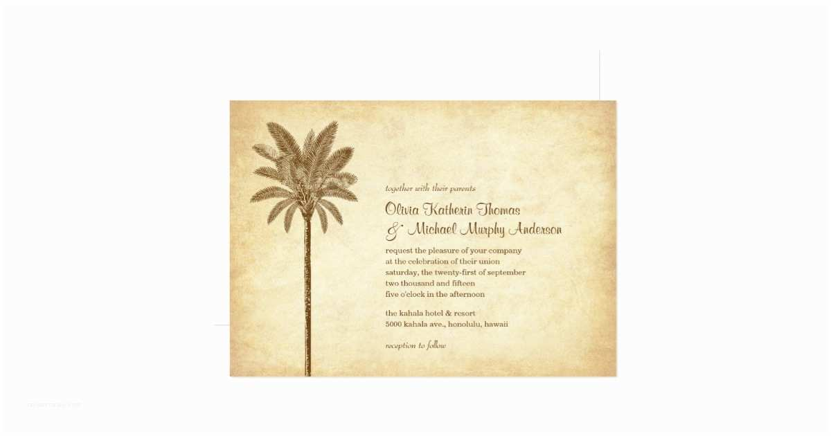 Palm Tree Wedding Invitations Vintage Palm Tree Beach Wedding Invitations
