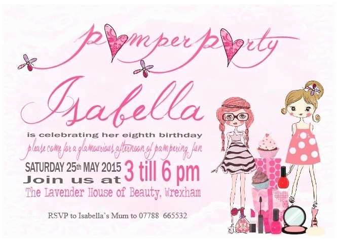 Pamper Party Invitations 10 Personalised Girl Childrens Pamper Birthday Party