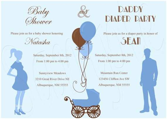 Pamper Party Invitations Baby Shower and Diaper Party Invitation Blue