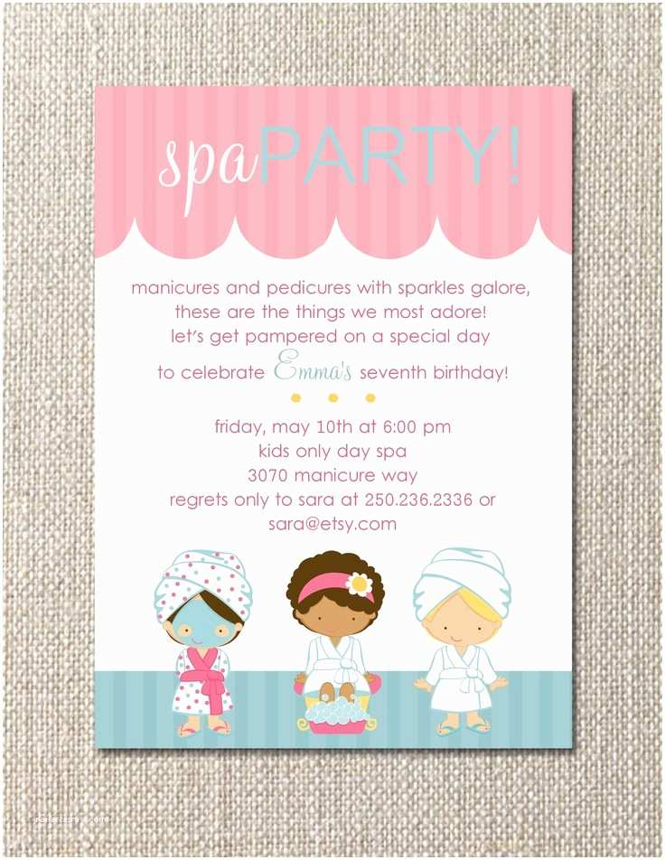 Pamper Party Invitations Diy Printable Salon Spa Party Birthday Invitation