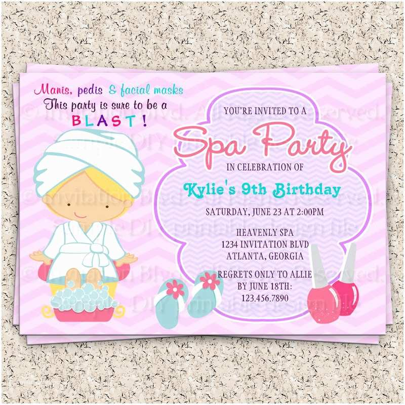kids spa party invitation girls spa