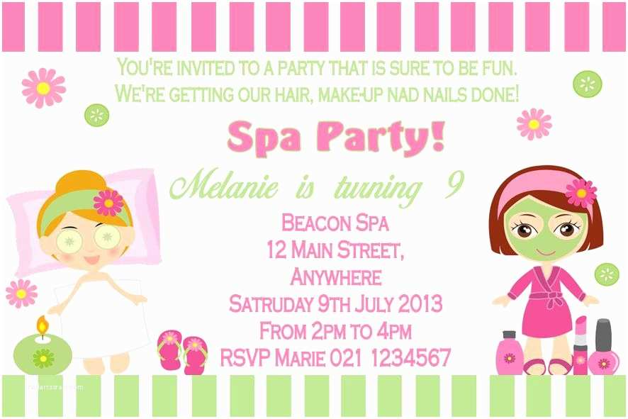 Pamper Party Invitations Pamper Party Invitations