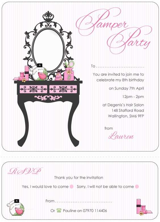 Pamper Party Invitations Pamper Party Invitations Template