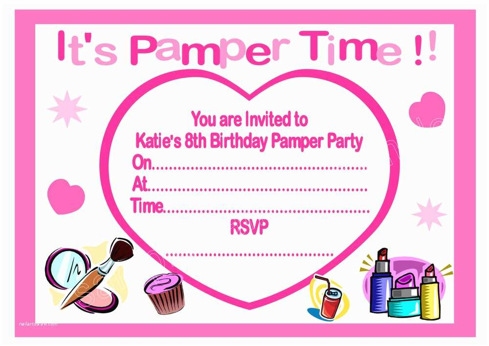 Pamper Party Invitations Personalised Girls Pamper Party Invitations Thank You