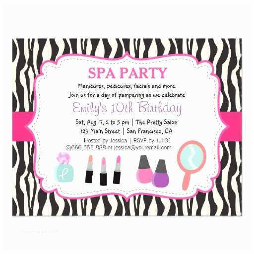 Pamper Party Invitations Personalized Pamper Party Invitations