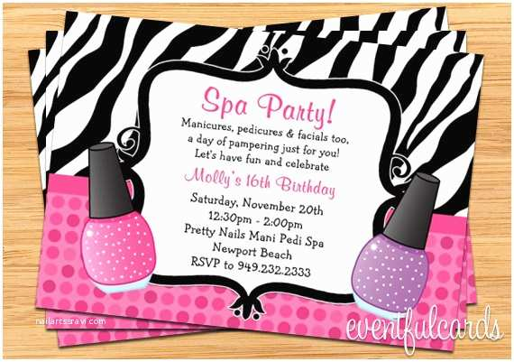 Pamper Party Invitations Spa Party Birthday Invitation Zebra Stripe
