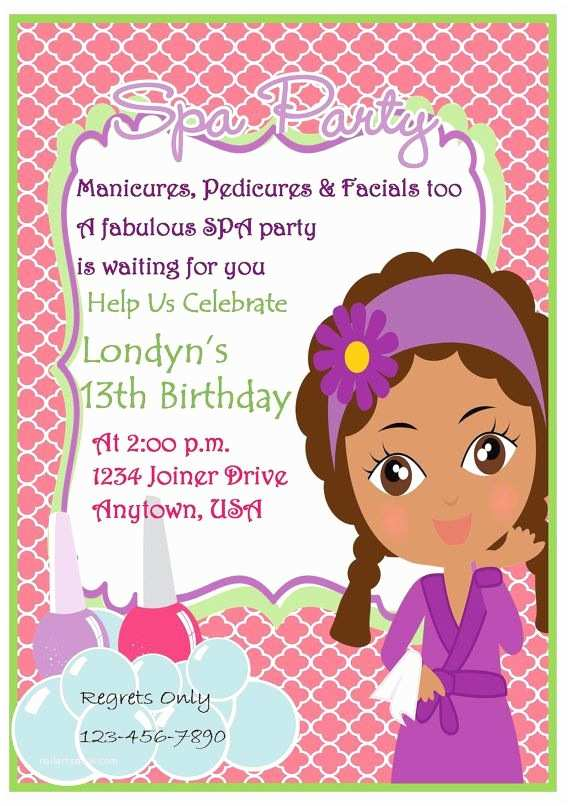 Pamper Party Invitations Spa Party Invitation Pink Quaterfoil Invitation African