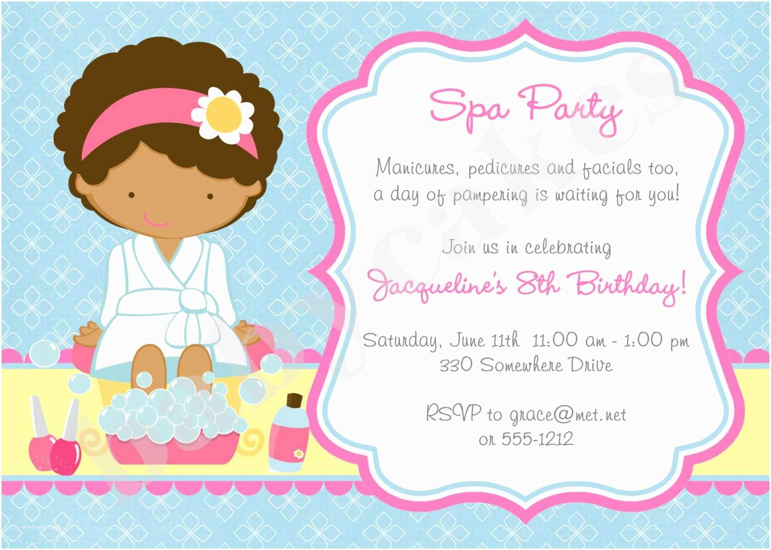 Pamper Party Invitations Spa Party Invitation Spa Birthday Party Invitation Invite Spa