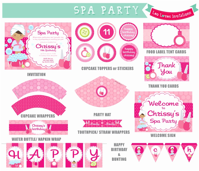Pamper Party Invitations Spa Party Printable