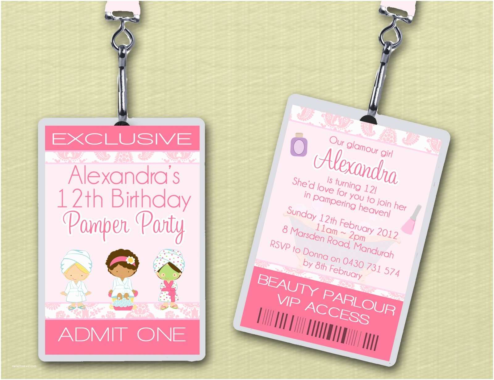 Pamper Party Invitations Vip Lanyard Pamper Party Birthday Invitations