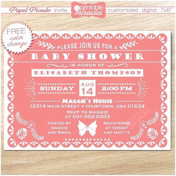 Papel Picado Wedding Invitations Papel Picado Invitation Pink Baby Shower Invitation Mexico