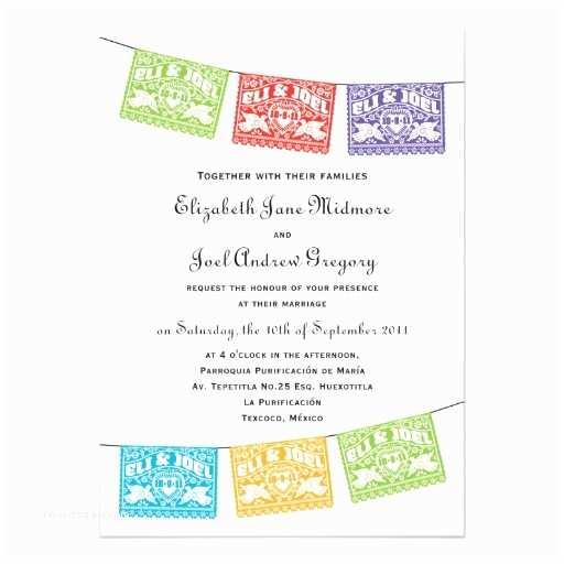 """Papel Picado Wedding Invitations Papel Picado Love Birds Wedding Banners Invitation 5"""" X 7"""