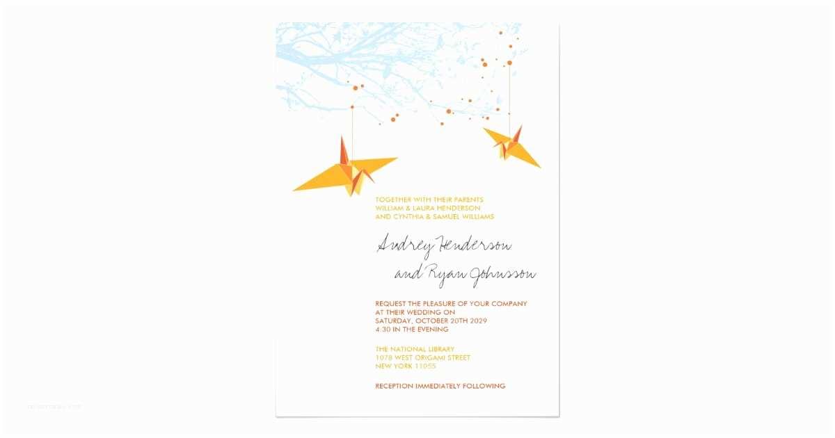 Paper Crane Wedding Invitations orange Hanging Paper Cranes Wedding Invitation