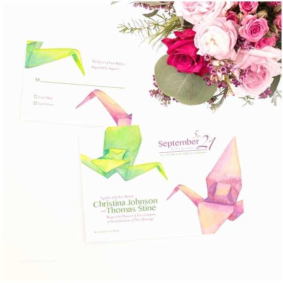 Paper Crane Wedding Invitations origami Cranes Wedding Invitation Hand Painted Weddings