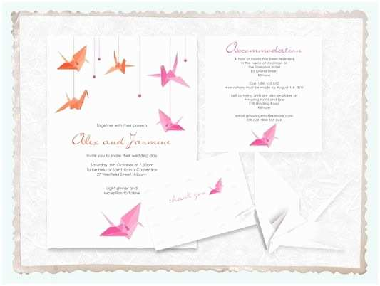 Paper Crane Wedding Invitations origami Paper Crane Wedding Invitation Suite Printable
