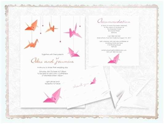 Paper Crane Wedding Invitations origami Paper Crane Wedding Invitation Suite Printable