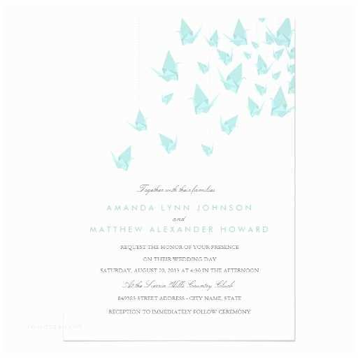 Paper Crane Wedding Invitations origami Paper Cranes Wedding Card