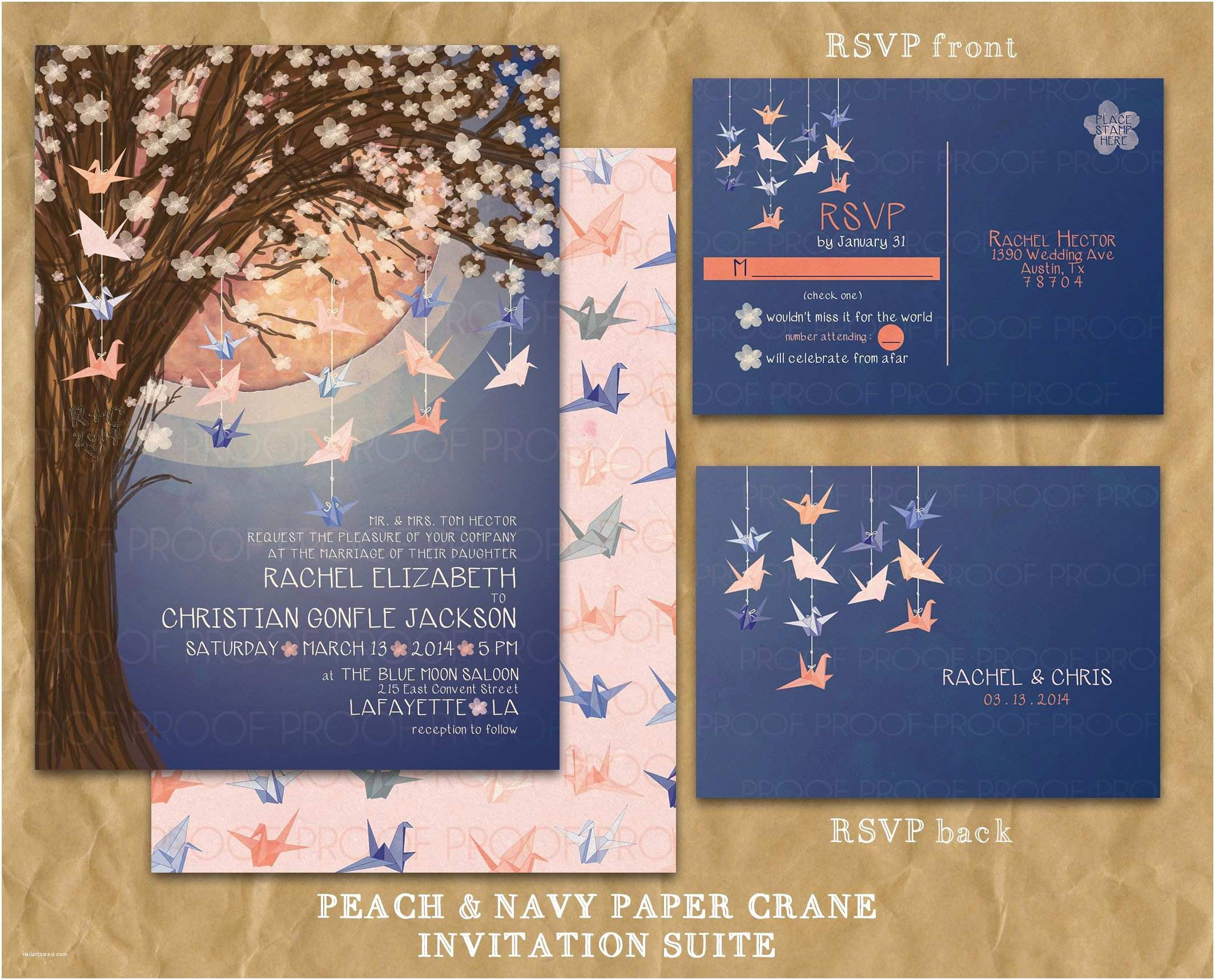 Paper Crane Wedding Invitations Paper Crane Moon Wedding Invitation Navy and Peach