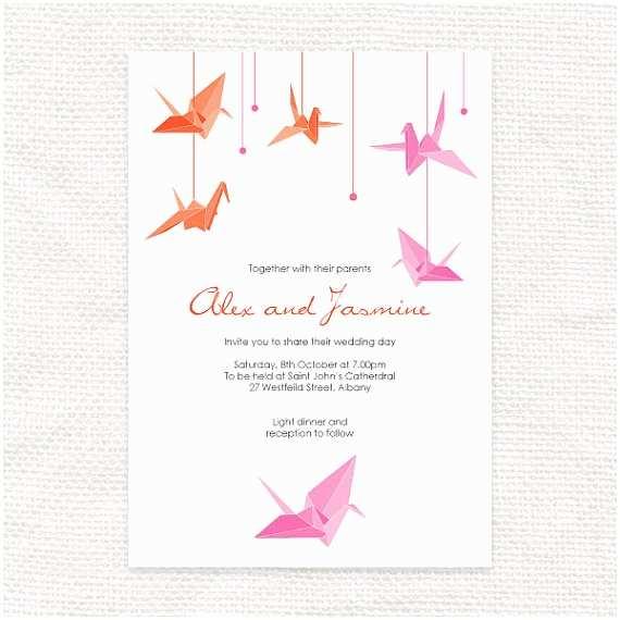 Paper Crane Wedding Invitations Paper Crane Printable Wedding Invitation origami Bird