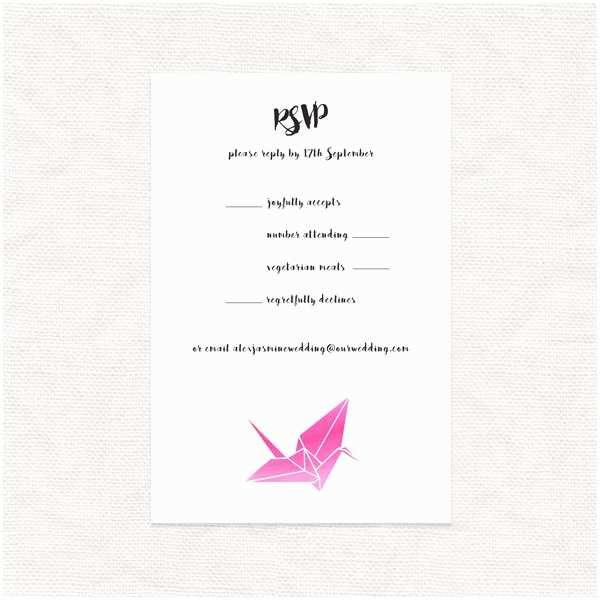Paper Crane Wedding Invitations Paper Crane Rsvp Postcard Reply Card Response Card