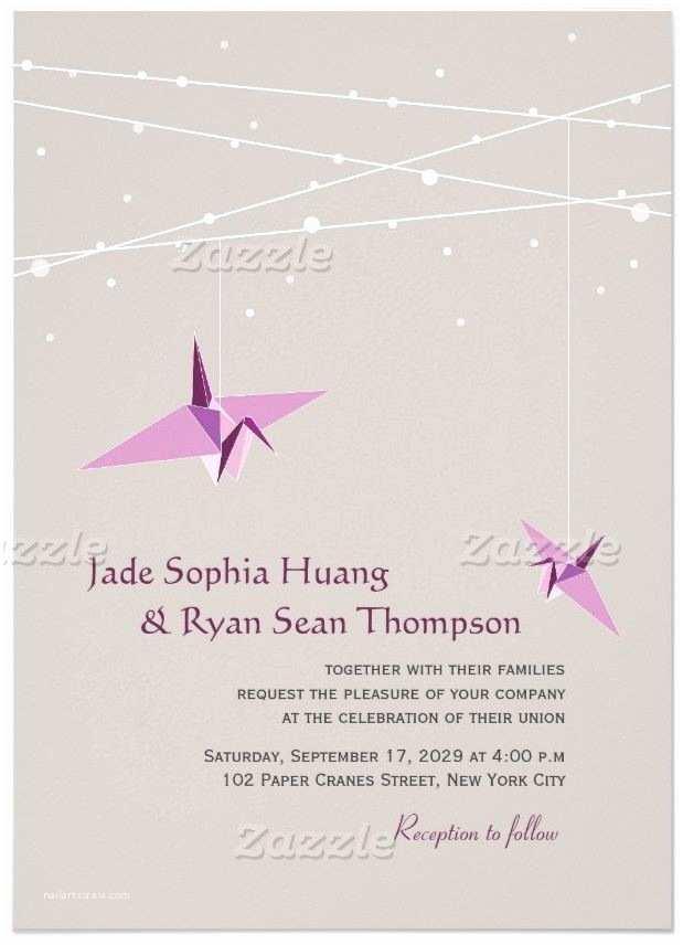 Paper Crane Wedding Invitations Purple Paper Cranes Fairy Lights Wedding Invitation