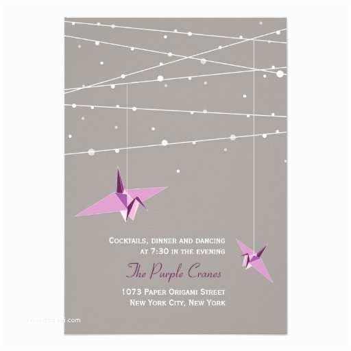 "Paper Crane Wedding Invitations Purple Paper Cranes Fairy Lights Wedding Reception 3 5"" X"