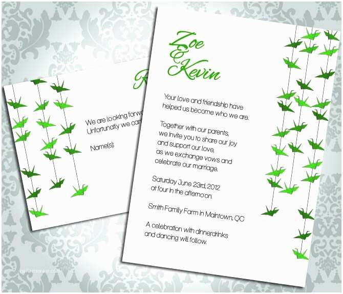 Paper Crane Wedding Invitations Wedding Invitation Paper Crane Party Invitation and