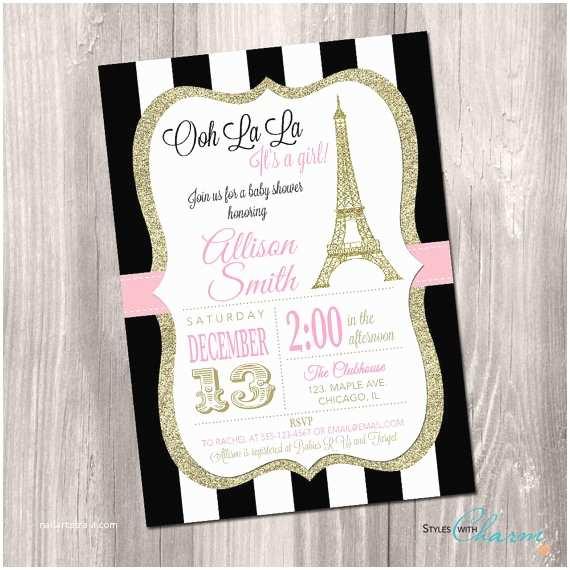 Paris Baby Shower Invitations Paris Baby Shower Invitation Eiffel tower Baby Shower