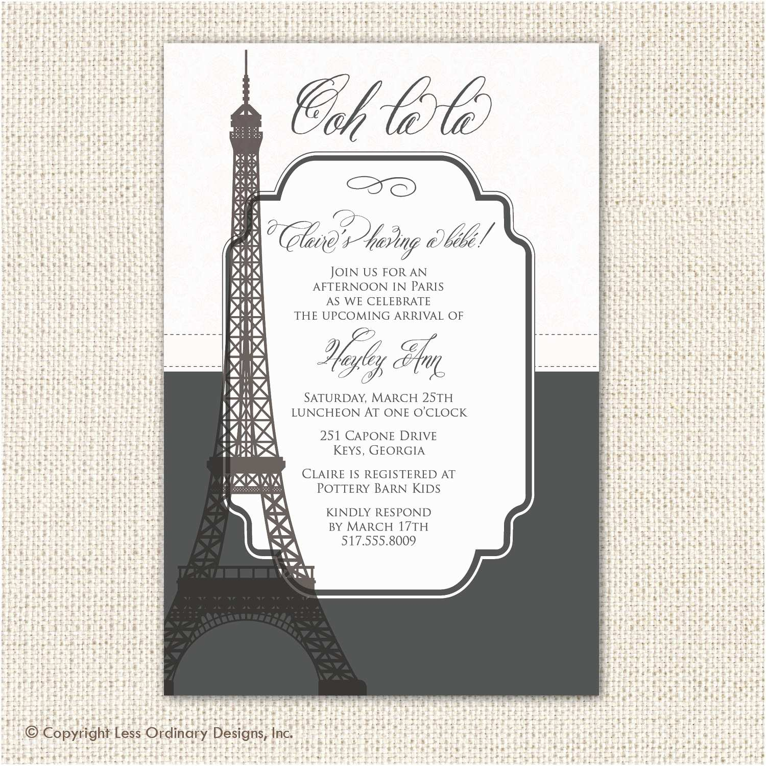 paris baby shower invitation eiffel