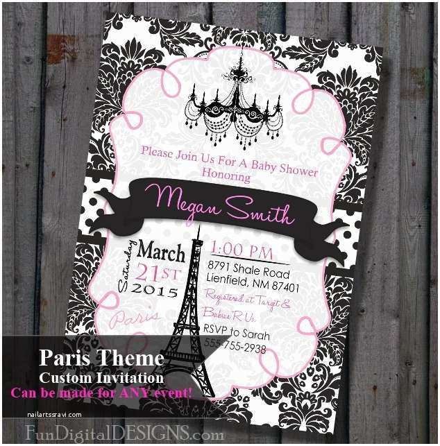 Paris Baby Shower Invitations Paris Baby Shower Invitation Pink and Black Eiffel tower