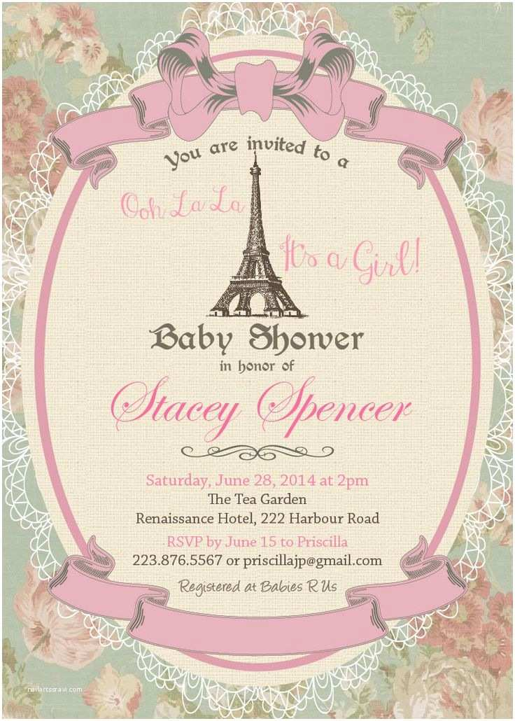 Paris Baby Shower Invitations Paris Baby Shower Invitation Vintage Paris Eiffel tower