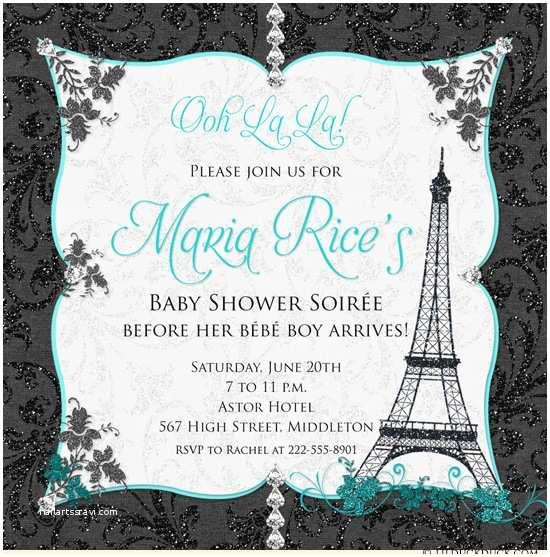 Paris Baby Shower Invitations Paris Baby Shower Invitations soirée Personalized European