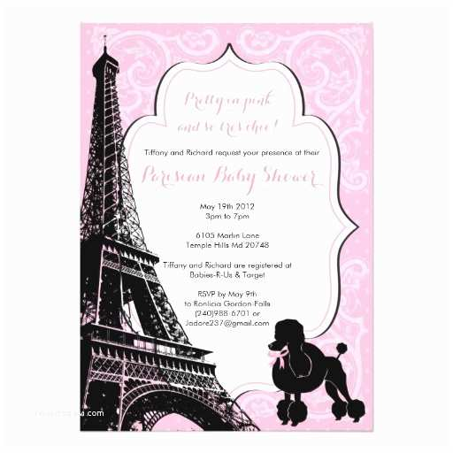 Paris Baby Shower Invitations Pretty In Pink Paris themed Baby Shower Invite