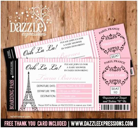 Paris Baby Shower Invitations Printable Paris Boarding Pass Baby Shower Invitation