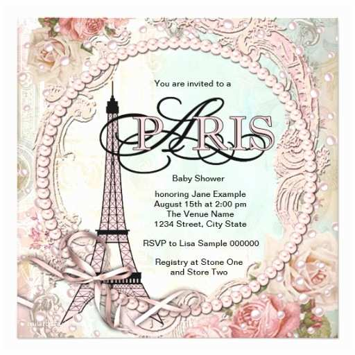 Paris Baby Shower Invitations Vintage Pink Paris Baby Shower Invitations
