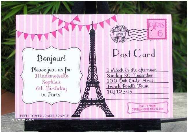 Paris Birthday Invitations Birthday Party In Paris Invitations & Printable Collection