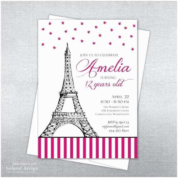 Paris Birthday Invitations Paris Birthday Invitation Parisian Birthday Eiffel