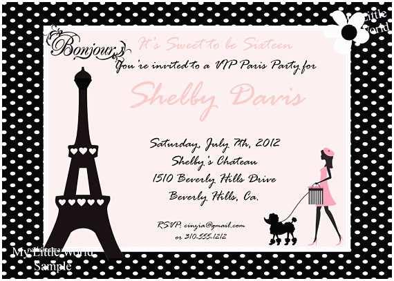 Paris Birthday Invitations Paris Invitations Paris Birthday By