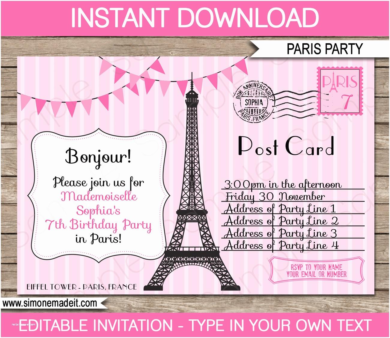 Paris Birthday Invitations Paris Party Invitations