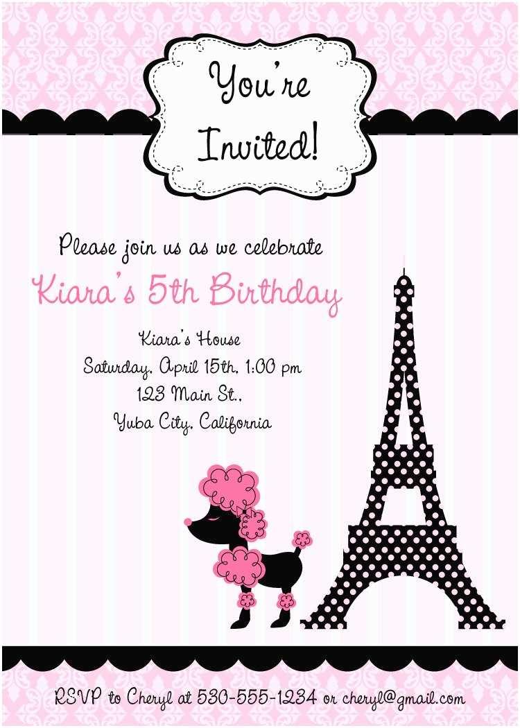 Paris Birthday Invitations Pink Poodle In Paris Birthday Invitations Digital