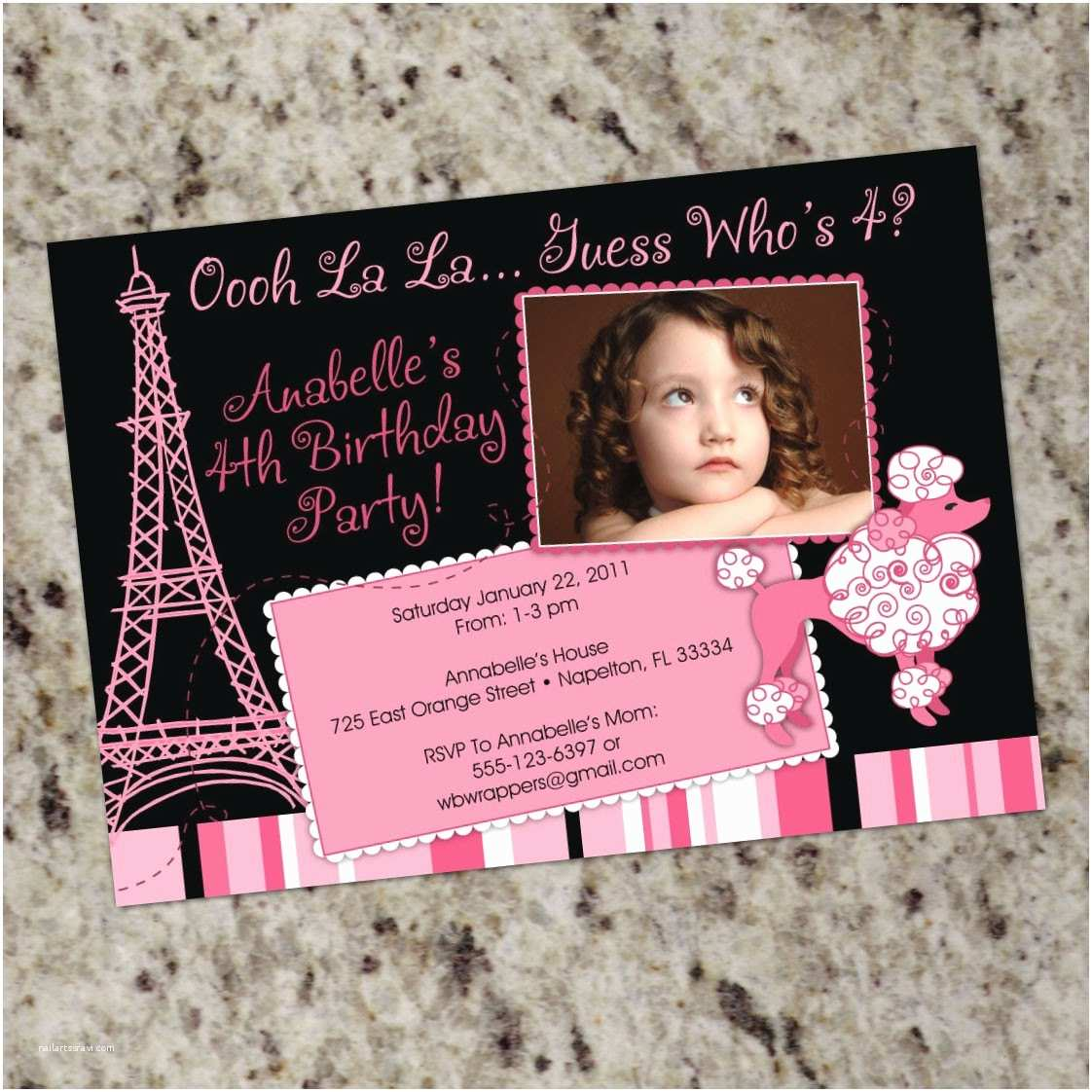 Paris Birthday Invitations Pink Poodle Party Invitation Printable
